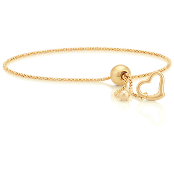 """14k Yellow Gold Adjustable Popcorn Chain Bracelet with Heart Accent (9"""")"""