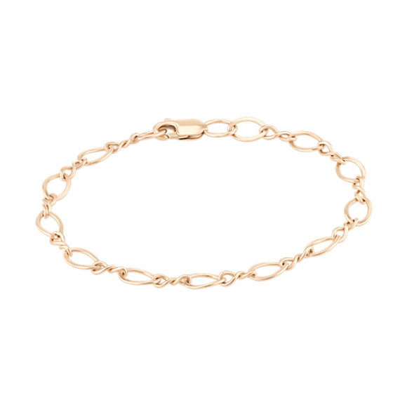 14k Yellow Gold Entwined Charm Bracelet (7.25)