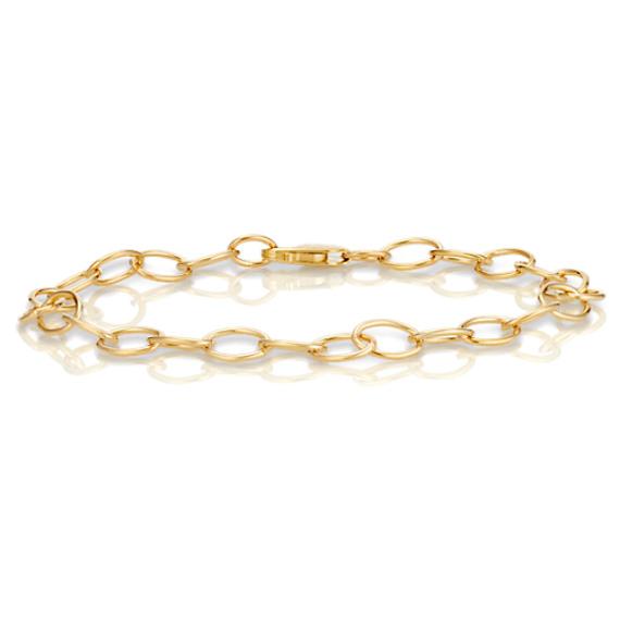 "14k Yellow Gold Infinity Charm Bracelet (7.25"")"