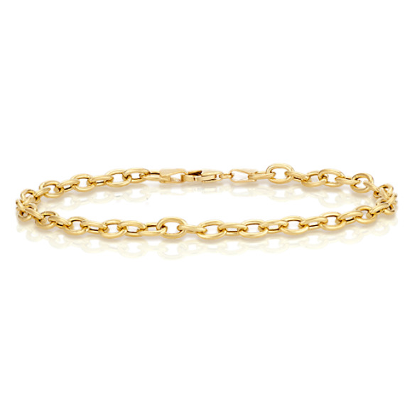 14k Yellow Gold Link Charm Bracelet (8.5)