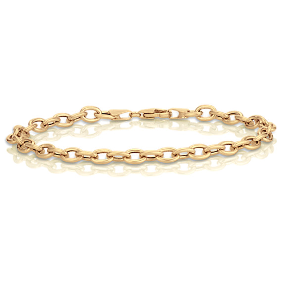14k Yellow Gold Link Charm Bracelet (7.5)