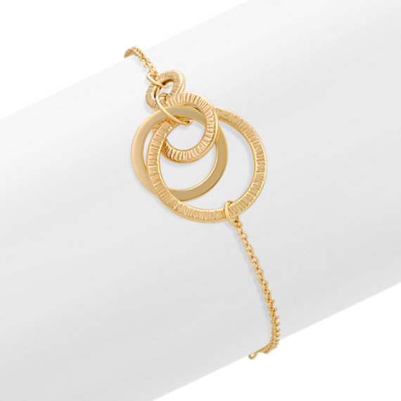 "14k Yellow Gold Multi-Circle Fashion Bracelet (7.5"")"
