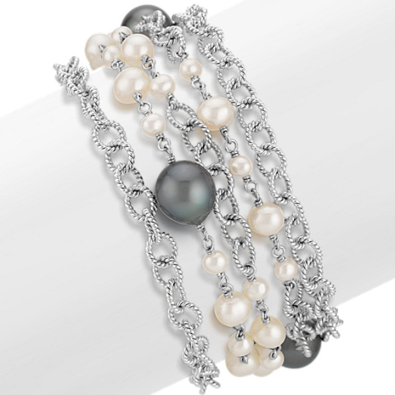 """4-10mm Cultured Freshwater and Tahitian Pearl Bracelet (8"""")"""