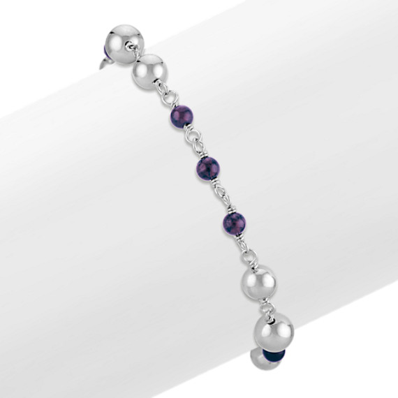 """4mm Amethyst Bead and Sterling Silver Bead Bracelet (7.5"""")"""