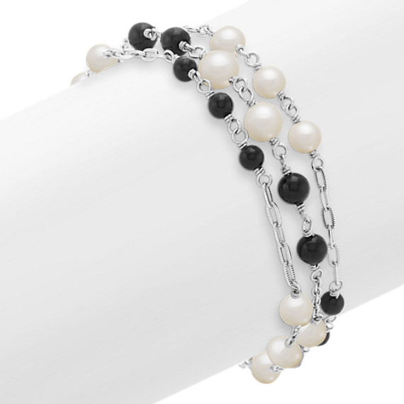"4mm Cultured Freshwater Pearl, Black Agate and Sterling Silver Bracelet (8"")"