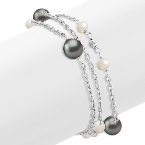 5.5-10mm Cultured Tahitian and Freshwater Pearl Bracelet (8 in.)