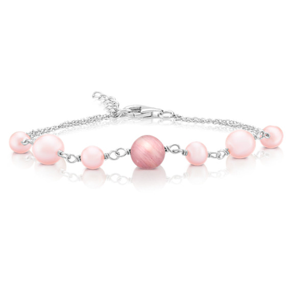 5.5-8mm Pink Cultured Freshwater Pearl, Rhodonite, and Sterling Silver Bracelet (7.5)