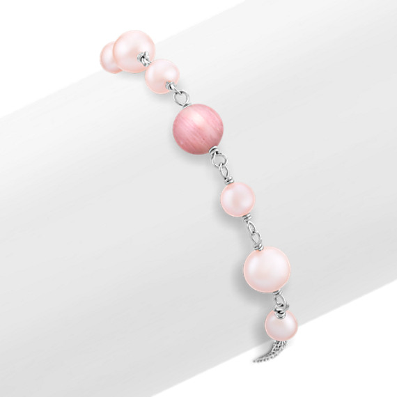 "5.5-8mm Pink Cultured Freshwater Pearl, Rhodonite, and Sterling Silver Bracelet (7.5"")"