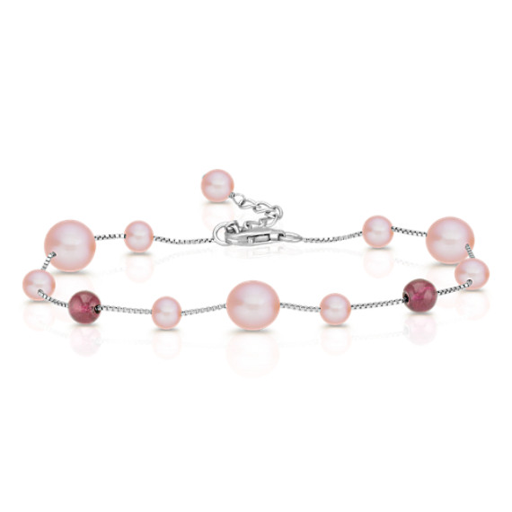5.5-9mm Pink Cultured Freshwater Pearl and Garnet Red Velvet Bracelet (7.5)