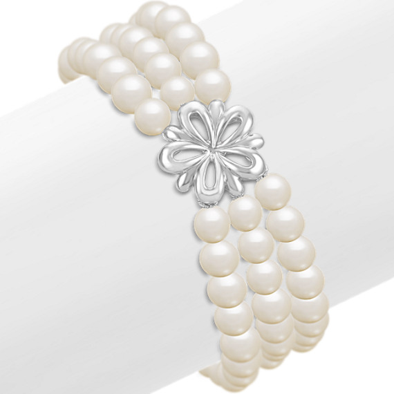 5.5mm Cultured Freshwater Pearl and Sterling Silver Floral Bracelet (7.5)