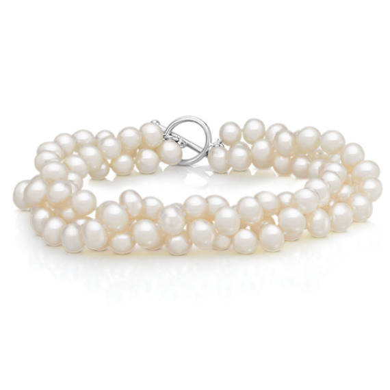 "5.5mm Cultured Freshwater Pearl Three Strand Bracelet (8.5"")"