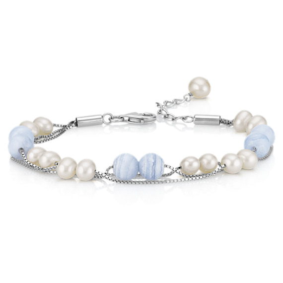 5mm Cultured Freshwater Pearl and Blue Lace Agate Three Row Bracelet in Sterling Silver (7.5)