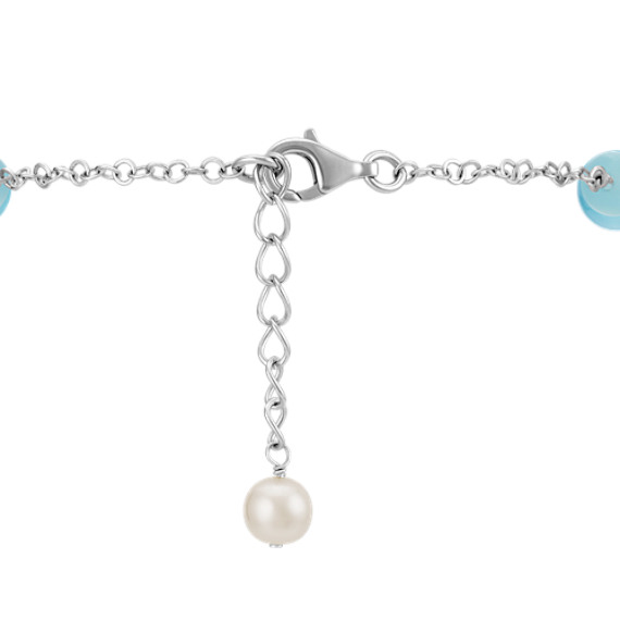 "6-8mm Cultured Freshwater Pearl and Sea Blue Agate Bracelet in Sterling Silver (7.5"")"