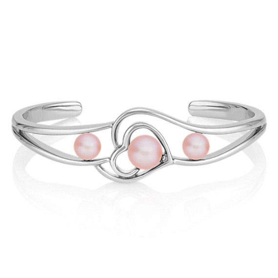 6.5-8.5mm Cultured Freshwater Pink Pearl Heart Bangle Bracelet (7)