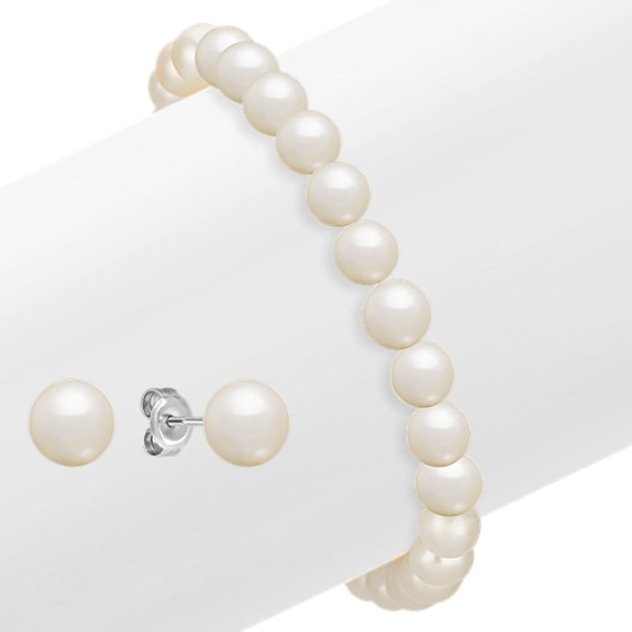 6.5-8mm Cultured Freshwater Pearl Bracelet and Earring Set in Sterling Silver (7.5)
