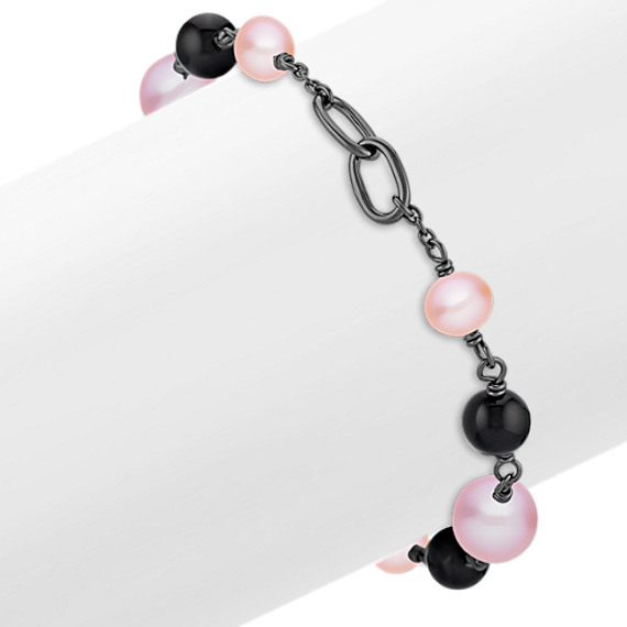 "6.5-9mm Multi-colored Cultured Freshwater Pearl, Black Agate and Sterling Silver Bracelet (7.5"")"