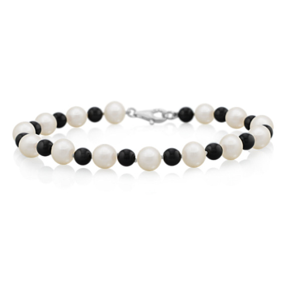 "6.5mm Cultured Freshwater Pearl, Black Agate and Sterling Silver Bracelet (7.5"")"