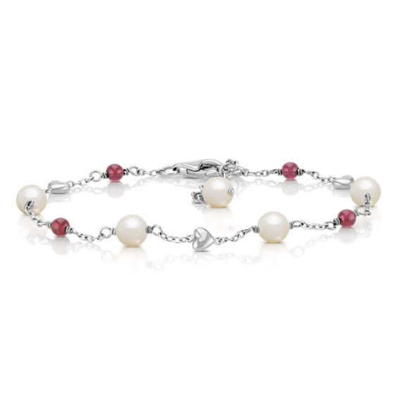 6mm Cultured Freshwater Pearl and Garnet Bracelet in Sterling Silver (7.5)