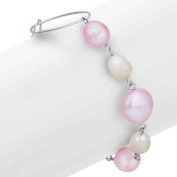 7-13mm Multi-Colored Cultured Freshwater Pearl and Sterling Silver Bracelet (7.5'')