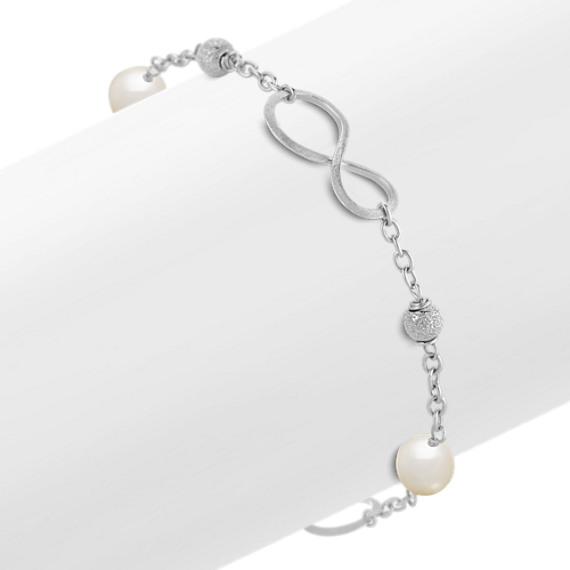 "7.5mm Cultured Freshwater Pearl and Sterling Silver Infinity Bracelet (8"")"