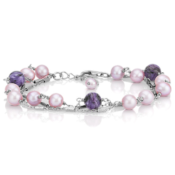 "7mm Cultured Freshwater Lavender Pearl and 8mm Charoite Bracelet (7.5"")"
