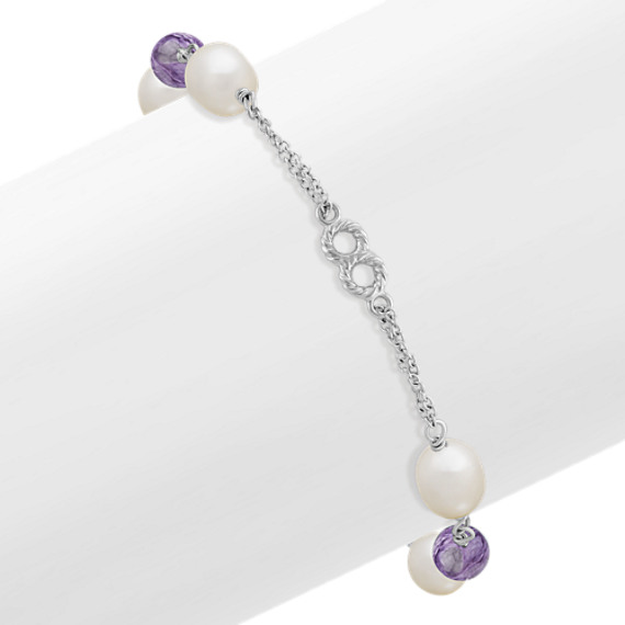 7mm Cultured Freshwater Pearl, Charoite and Sterling Silver Bracelet (7.5)
