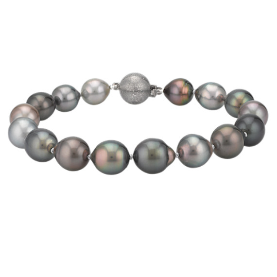 8mm Cultured Tahitian Pearl Bracelet in Sterling Silver (7.5)