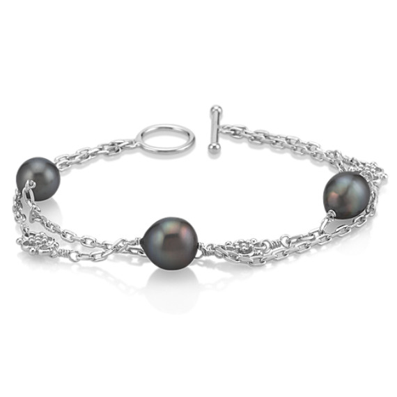 9mm Cultured Tahitian Pearl and Sterling Silver Bracelet (8)