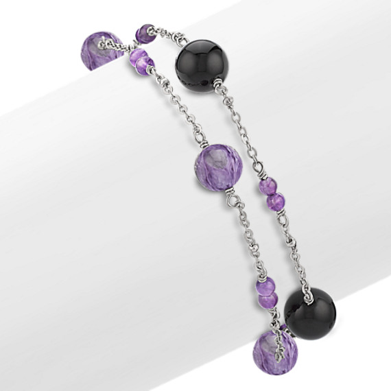 "Amethyst, Charoite, Black Agate and Sterling Silver Bracelet (7.5"")"
