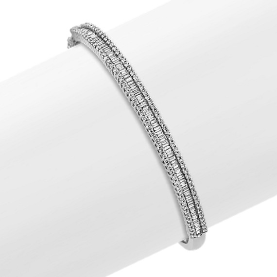 Baguette and Round Diamond Bangle Bracelet (7)