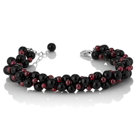 """Black Agate and Garnet Twisted Strand Bracelet (7.5"""")"""