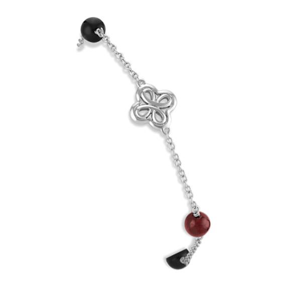 "Black Agate and Red Garnet Bracelet in Sterling Silver (7"")"