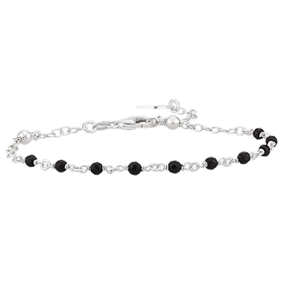 Black Agate and Sterling Silver Bracelet with Unique Cross Clasp (7.5 in.)