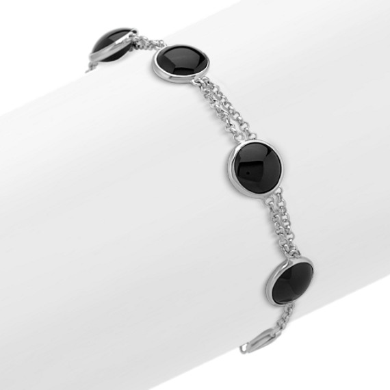 "Black Agate and Sterling SIlver Bracelet (8"")"