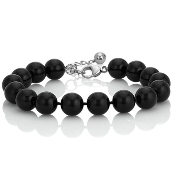 "Black Agate and Sterling Silver Bracelet (7.5"")"
