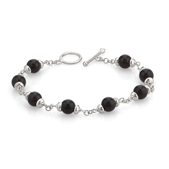 "Black Agate and Sterling Silver Toggle Bracelet (8"")"
