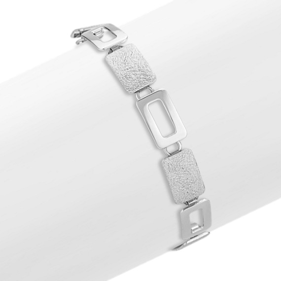 Blocked Sterling Silver Bracelet (7.5 in.)