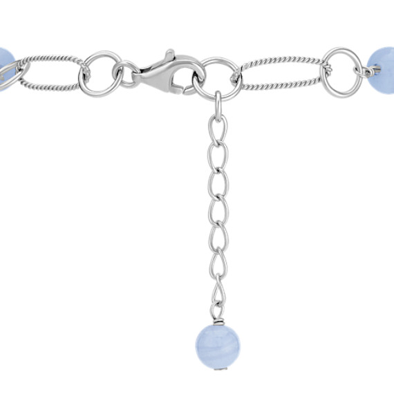 Blue Lace Agate Sterling Silver Bracelet (8)