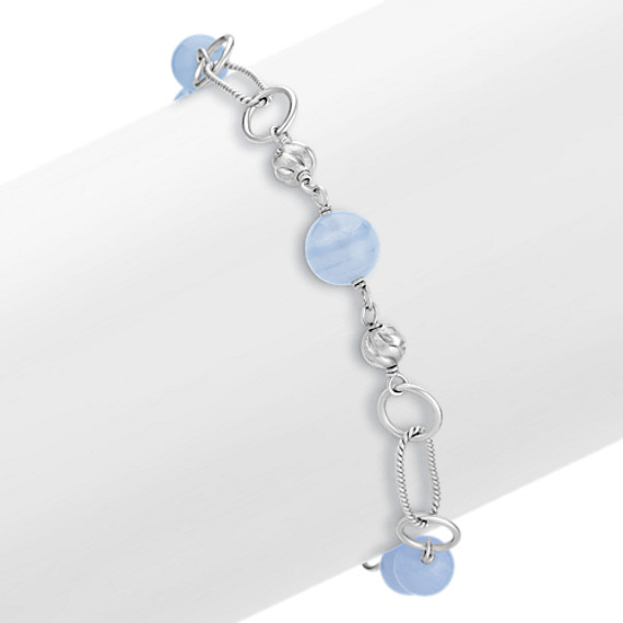 "Blue Lace Agate Sterling Silver Bracelet (8"")"