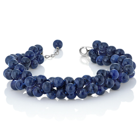"Blue Sodalite Twisted Strand Bracelet in Sterling Silver (7.5"")"