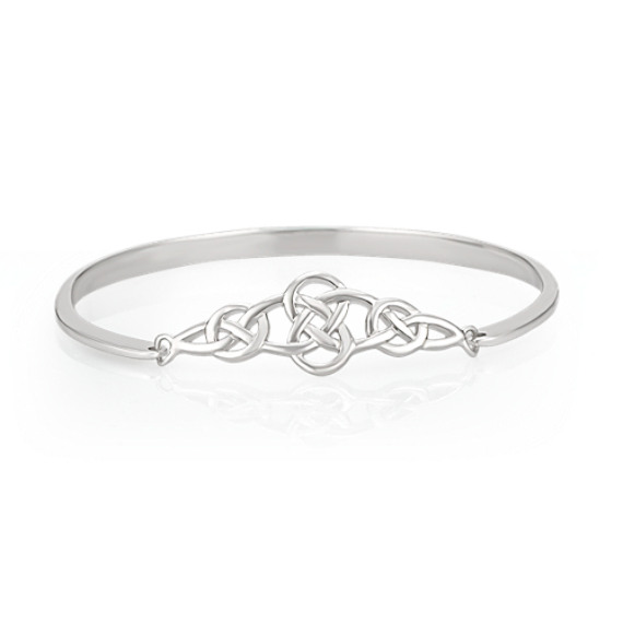 "Celtic Sterling Silver Bangle Bracelet (7"")"