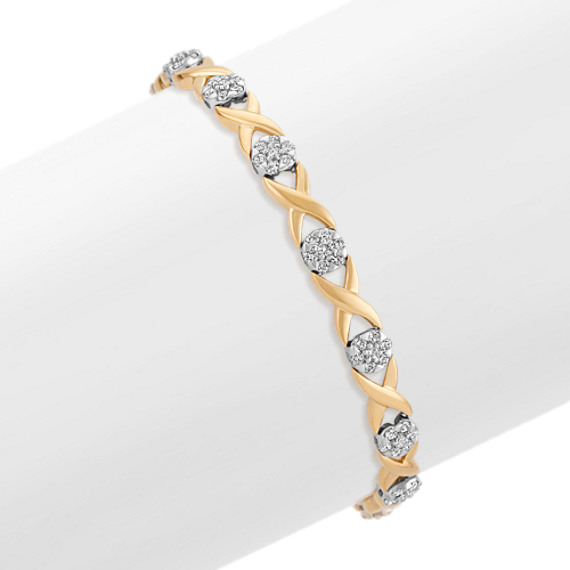 "Diamond Bracelet in Two-Tone Gold (7"")"