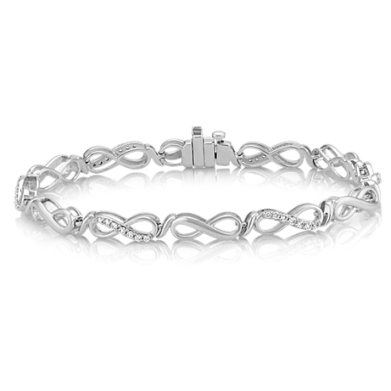 "Diamond Infinity Bracelet in 14k White Gold (7"")"