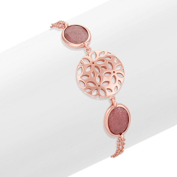 Floral Disc and Bezel-Set Rhodonite Bracelet in Rose Sterling Silver (7.5)