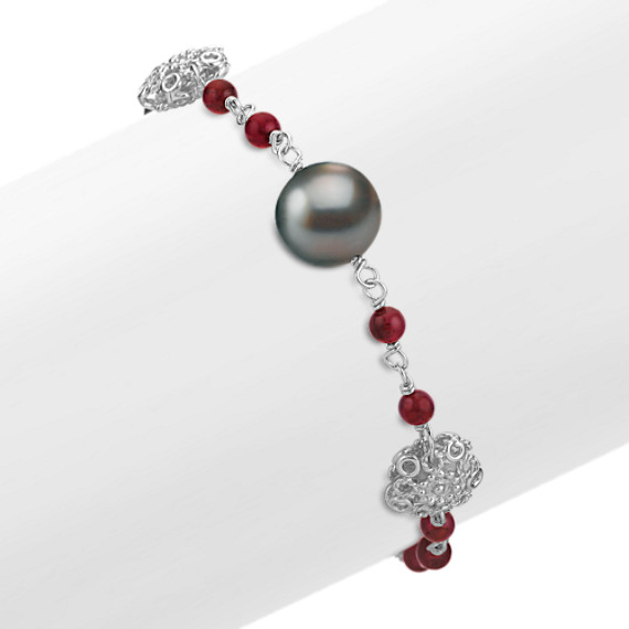 "Garnet, 10mm Cultured Tahitian Pearl, and Sterling Silver Bracelet (7.5"")"