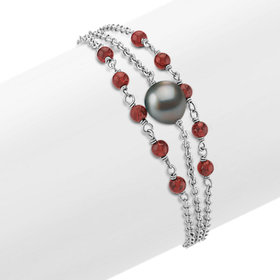 "Garnet, 9mm Cultured Tahitian Pearl and Sterling Silver Bracelet (7.5"")"