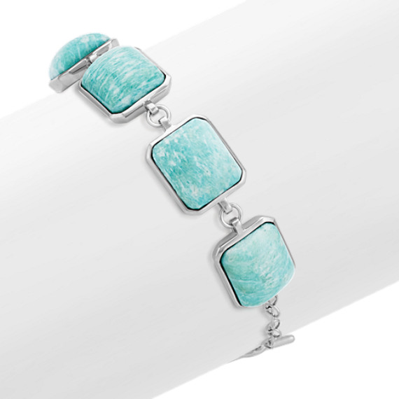 """Green Amazonite and Sterling Silver Bracelet (7"""")"""