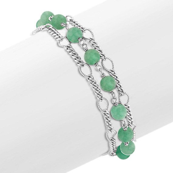 Green Aventurine and Sterling Silver Bracelet (7.5)