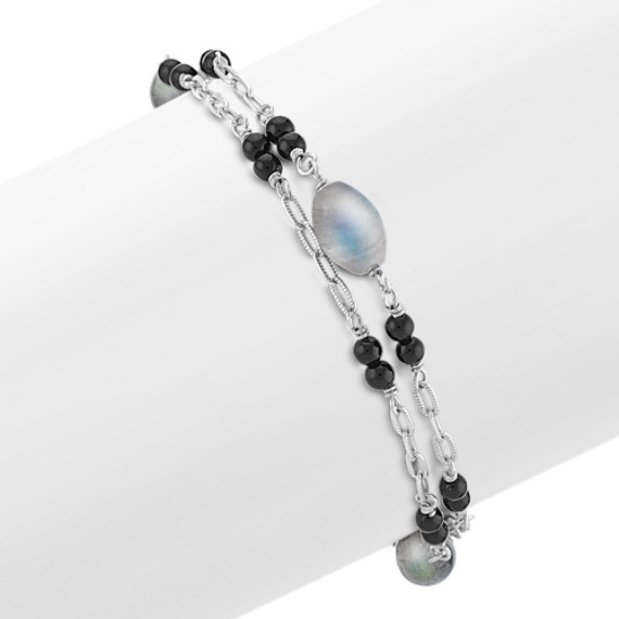 Grey Labradorite, Black Agate and Sterling Silver Bracelet (7.5)