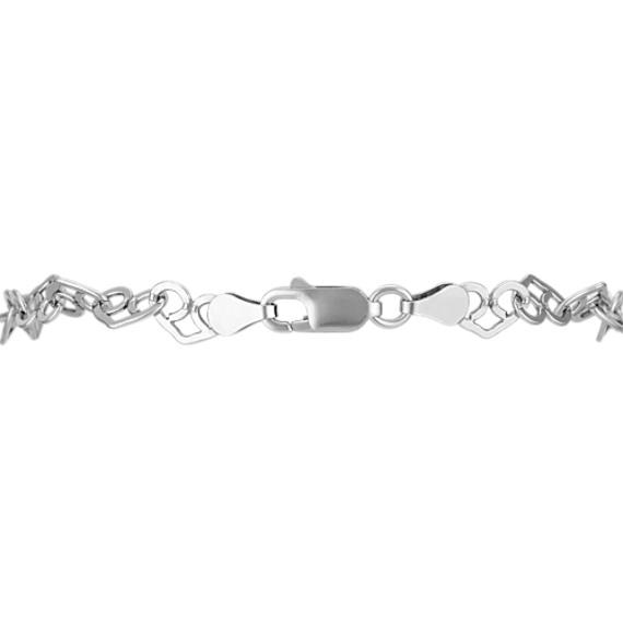 Interlocking Heart Bracelet in Sterling Silver (7.5)
